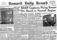 Ziarul din Roswell, Roswell Daily Record din 8 iulie 1947, anunțând capturarea unei farfurii zburătoare, de către United States Army, în apropierea localității