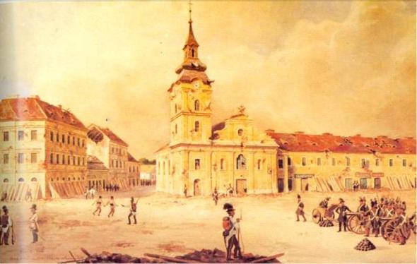 Vechea biserica Minorita (catolica) - tablou cu bombardamentul de la 1848
