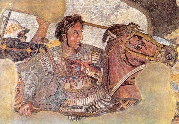 Alexandru cel Mare luptând cu regele persan Darius al III-lea, (Mozaic din Pompeii, după o pictură greacă originală din sec. al III-lea Î.Hr., acum pierdută)