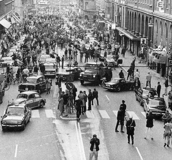 După ce Suedia a schimbat sensul de mers de pe partea stângă pe partea dreaptă, 1967